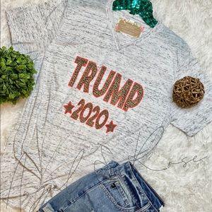 🇺🇸Trump 2020 Leopard Print Gray Tee Shirt